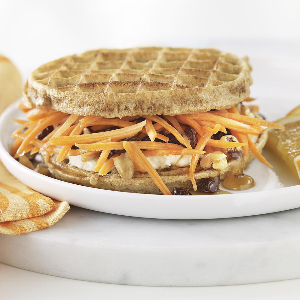 Carrot Cake Waffle Breakfast Sandwich EatingWell Test Kitchen