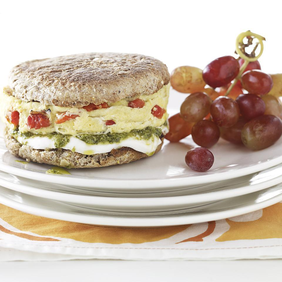 Pesto, Mozzarella & Egg Breakfast Sandwich EatingWell Test Kitchen