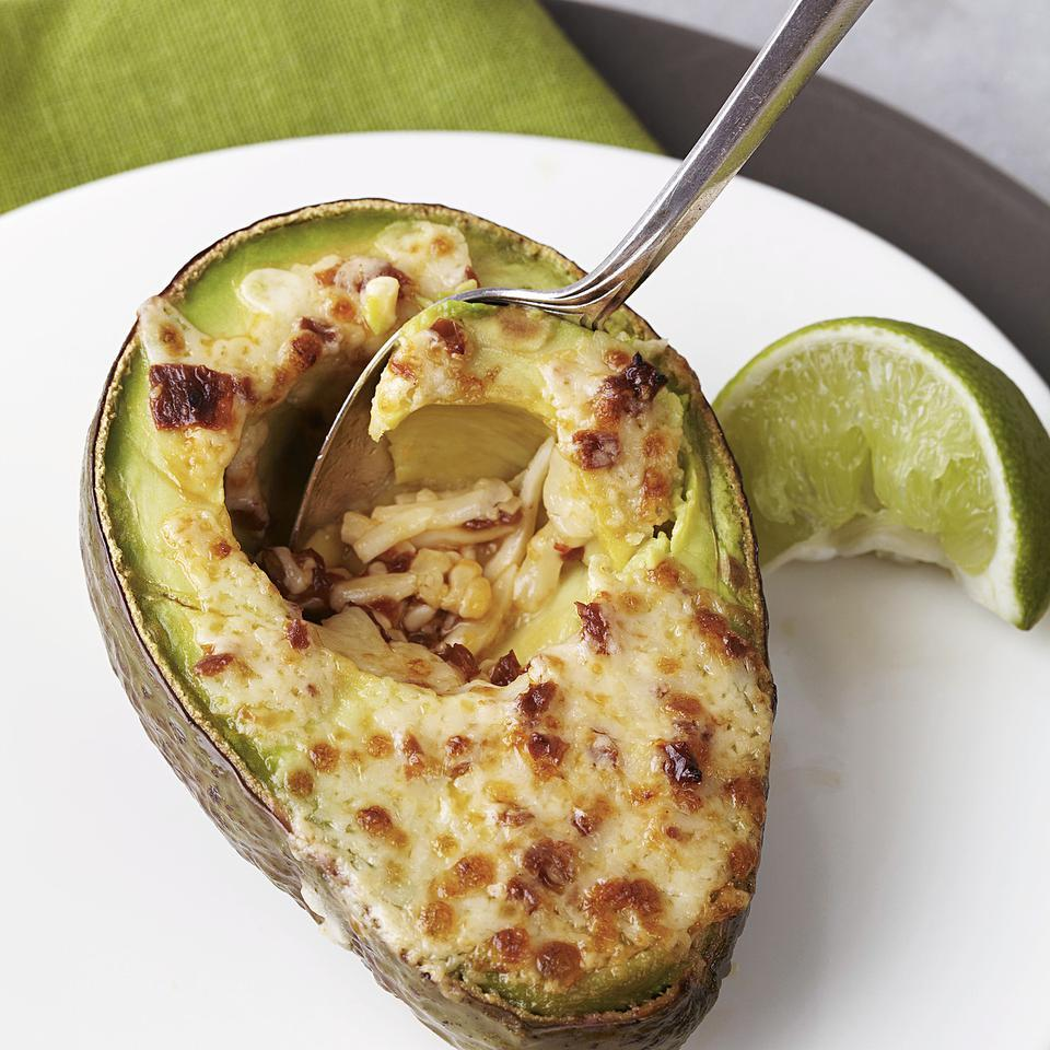 In this avocado side-dish recipe, zesty avocado halves are topped with melted Cheddar cheese and broiled until golden brown. You can serve these healthy avocado halves as a side dish with grilled chicken or steak. Source: EatingWell Magazine, March/April 2013