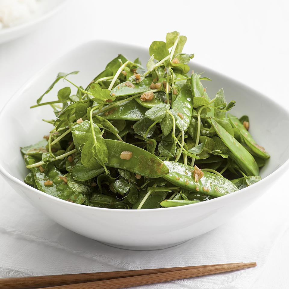Garlic Stir-Fried Snow Peas & Pea Greens Kathy Gunst