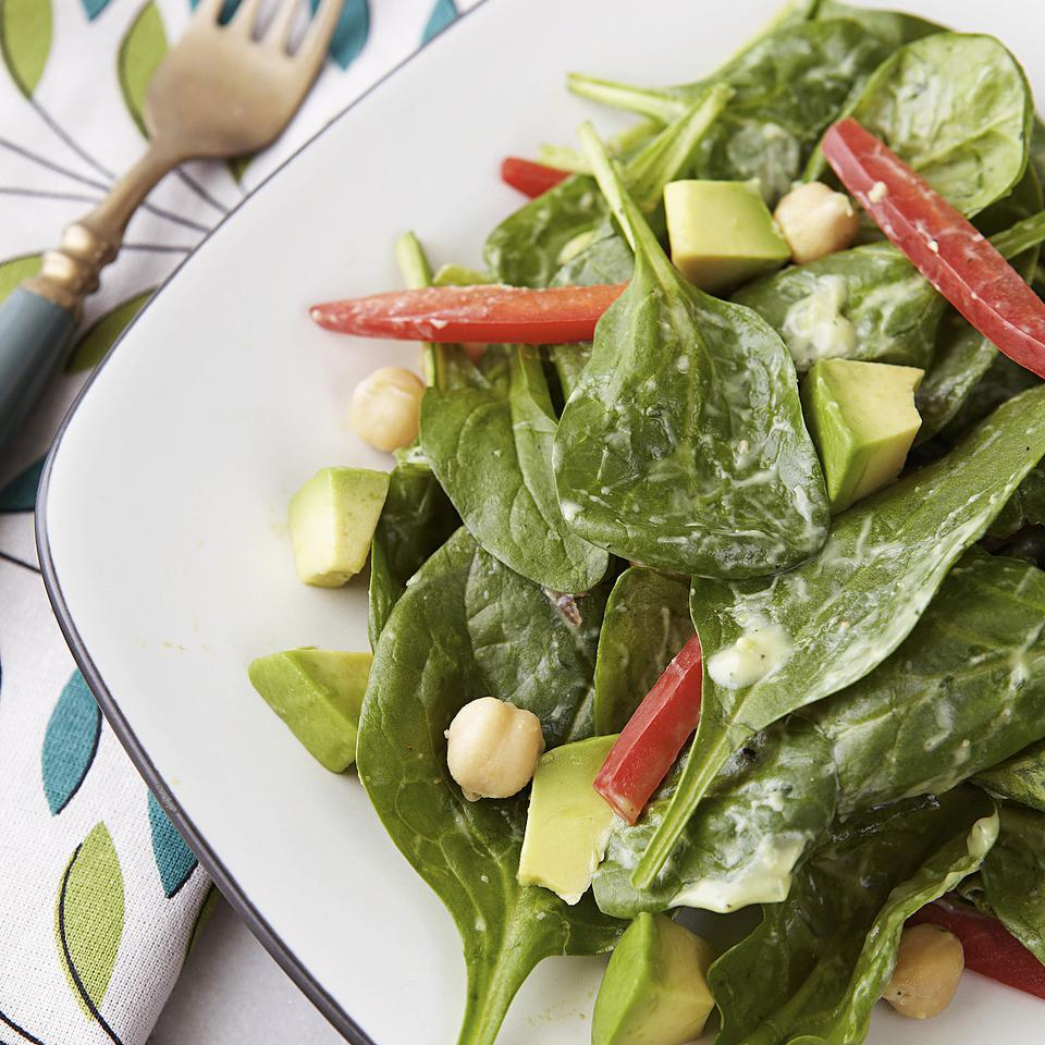 Spinach Salad with Avocado-Ranch Dressing EatingWell Test Kitchen