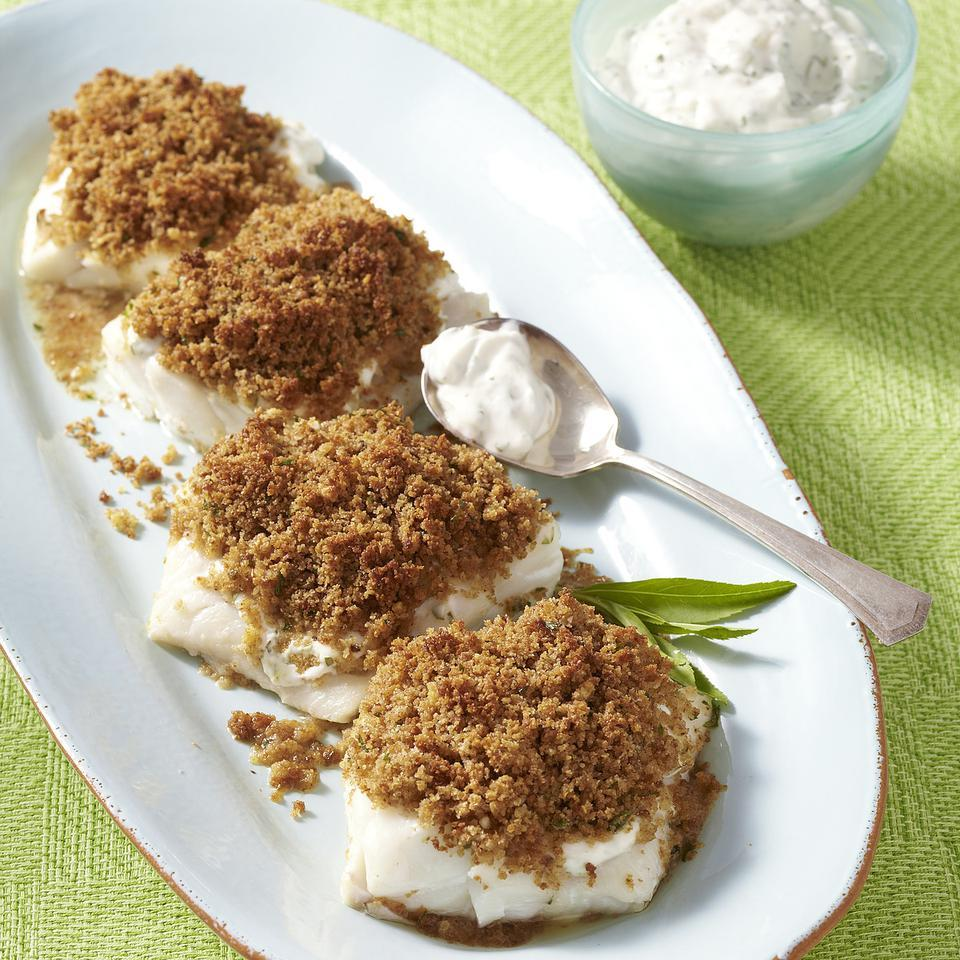 In this quick baked fish recipe for two, a creamy spread of Greek yogurt and tarragon keeps cod moist and flavorful and helps keep the crispy breadcrumb topping in place. We like the delicate flavor of cod in this quick baked fish recipe for two, but any firm fish fillet can be used in its place. Source: EatingWell Magazine, March/April 2013