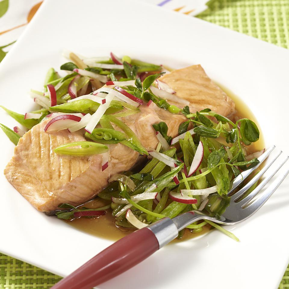 Mirin-Poached Salmon with Spring Salad EatingWell Test Kitchen