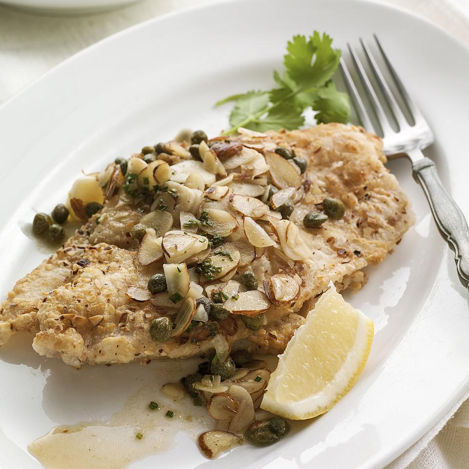 Sole with Garlic-Almond-Caper Sauce EatingWell Test Kitchen