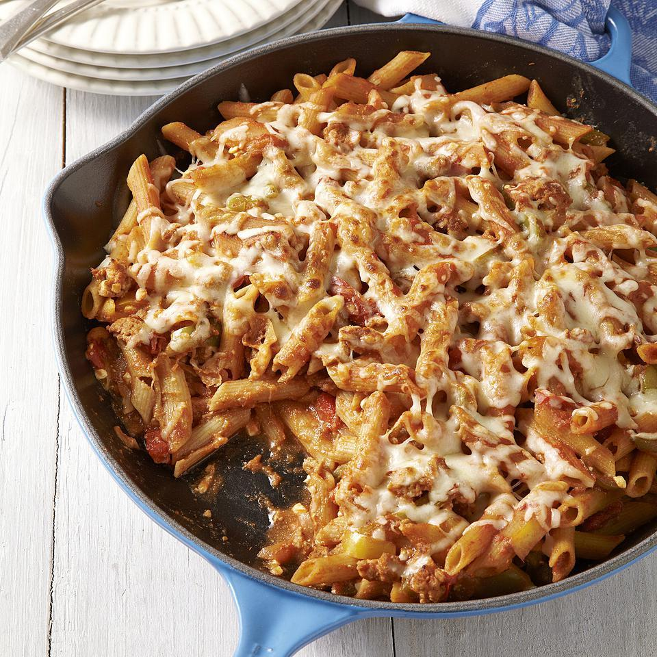 This healthy baked ziti recipe doesn't require any chopping and is made on the stovetop, so it is perfect for a busy weeknight dinner. Using whole-wheat pasta adds fiber; opt for penne if whole-wheat ziti is hard to find.