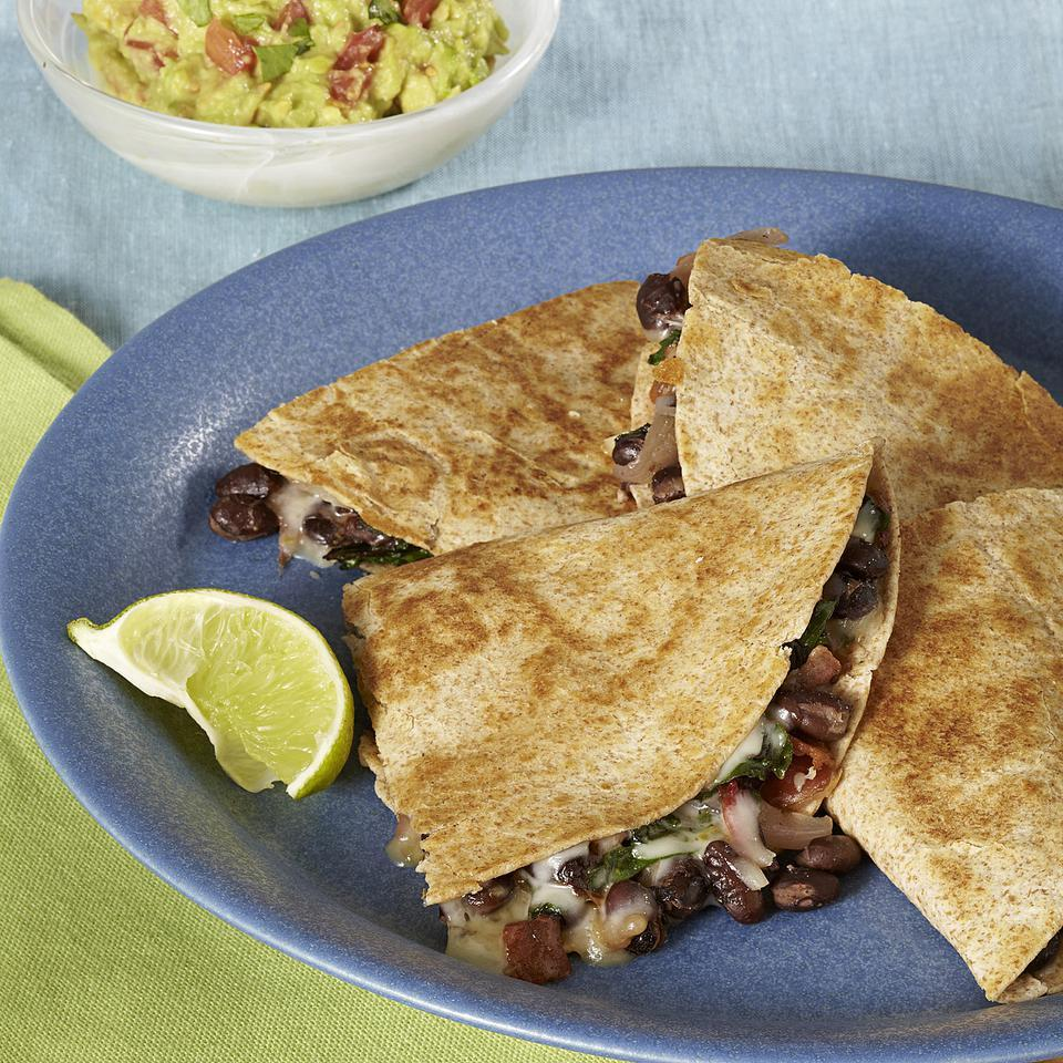 Bacon Chard Quesadillas for Two EatingWell Test Kitchen