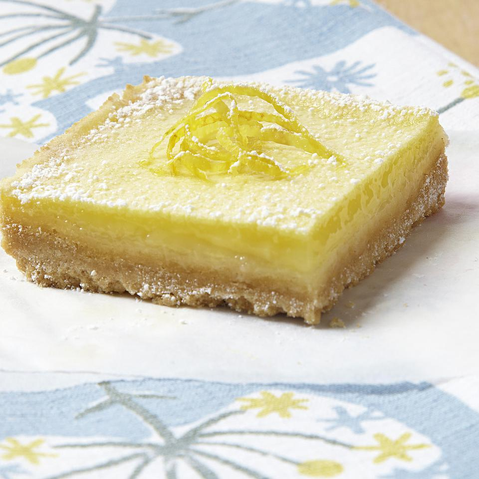 Lemon squares are so delicious, but classic lemon square recipes tip the scales with their calories and saturated fat. Our healthy lemon squares recipe shaves almost 200 calories and more than 5 grams of saturated fat per lemon square. For a variation, use lime juice in place of the lemon juice.