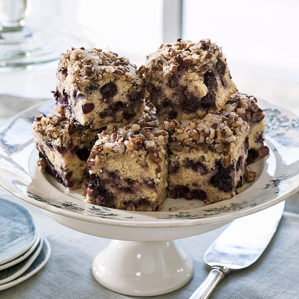 This scrumptious coffee cake recipe has a crumbly pecan topping and is speckled with blueberries or raspberries. You'll never guess there's apple in the berry coffee cake: it replaces some of the butter found in most coffee cakes and adds a decidedly sweet taste and moist crumb. This is a great recipe to serve at brunch and can be made the day before. Source: EatingWell Magazine, May/June 2013