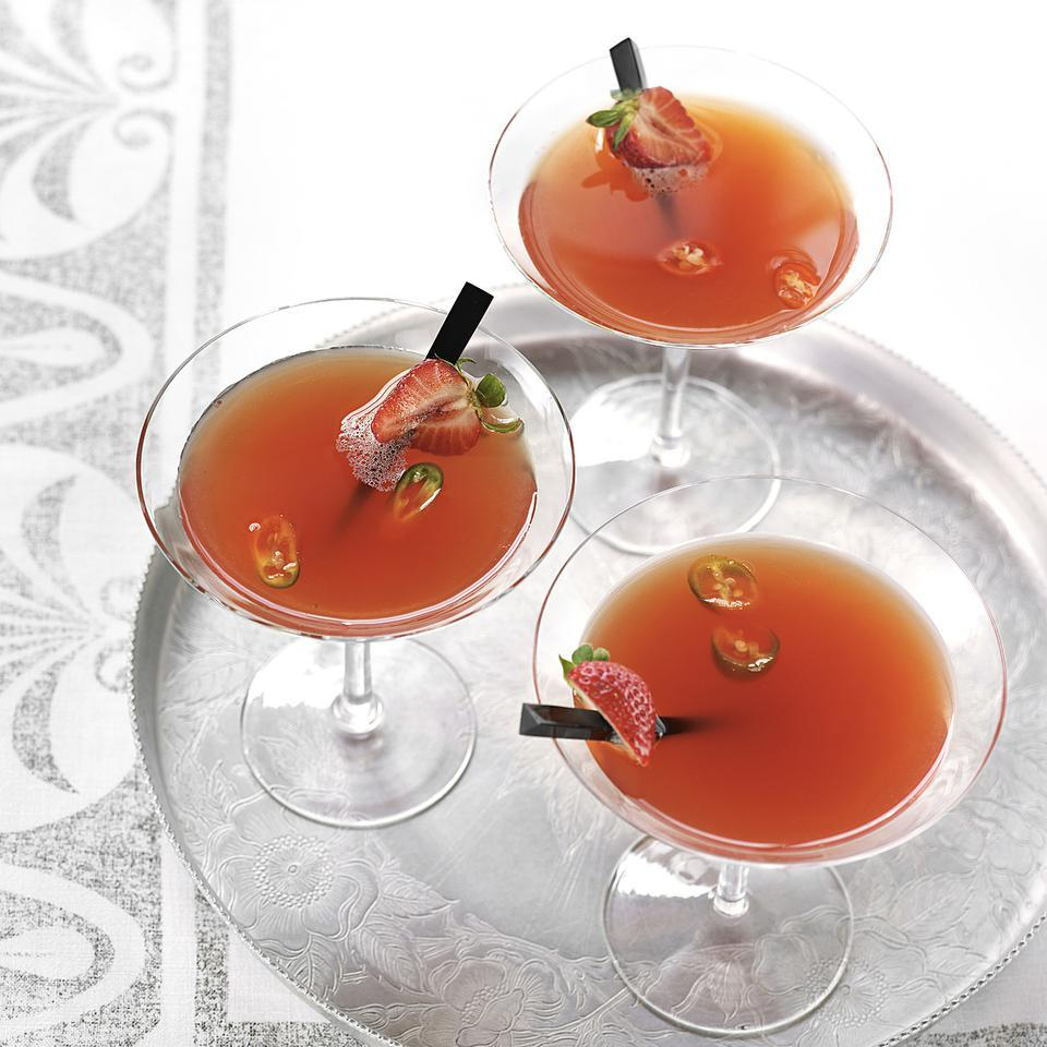 This beautiful strawberry martini cocktail recipe is an irresistible combination of sweet and spicy. Strawberries vary in sweetness and jalapeño chiles vary in heat, so once you've made this cocktail, take a sip and adjust to your taste.Source: EatingWell Magazine, May/June 2013