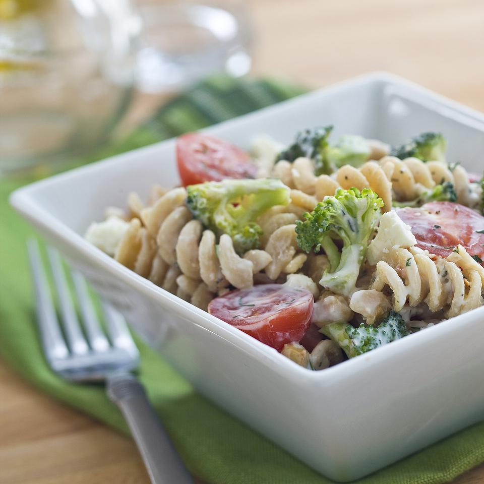 This vegetarian pasta salad recipe is perfect for your next potluck or as an easy side dish. The broccoli keeps it nice and crunchy and the chickpeas add protein. For the best flavor, combine the pasta salad with the dressing about 1 hour before serving.Source: EatingWell Magazine, May/June 2013