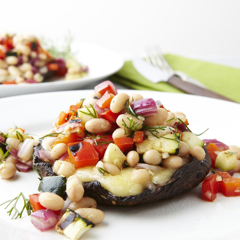 Grilled Portobellos with Chopped Salad EatingWell Test Kitchen