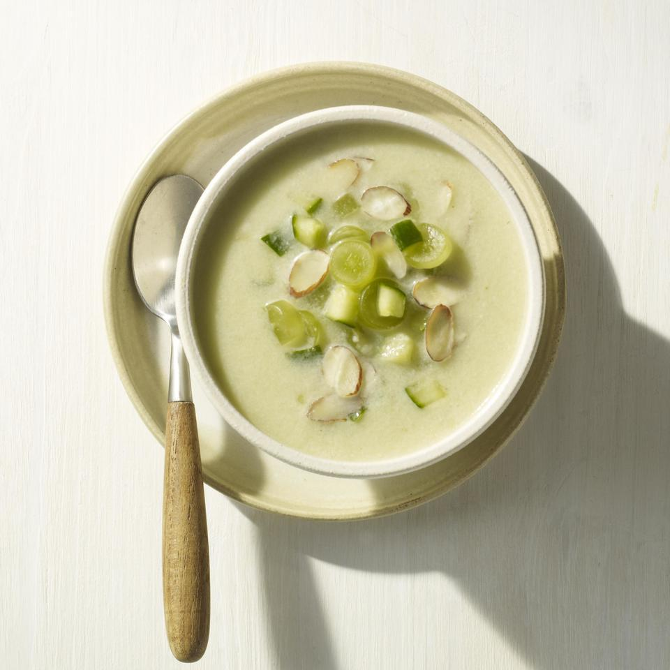 White gazpacho is made with bread, almonds, grapes and garlic and is one of the traditional Spanish gazpacho variations. In this white gazpacho soup recipe we add cucumbers and honeydew, whir it in a blender and it becomes silky, a little toasty (from the almonds) and refreshing. Source: EatingWell Magazine, July/August 2013