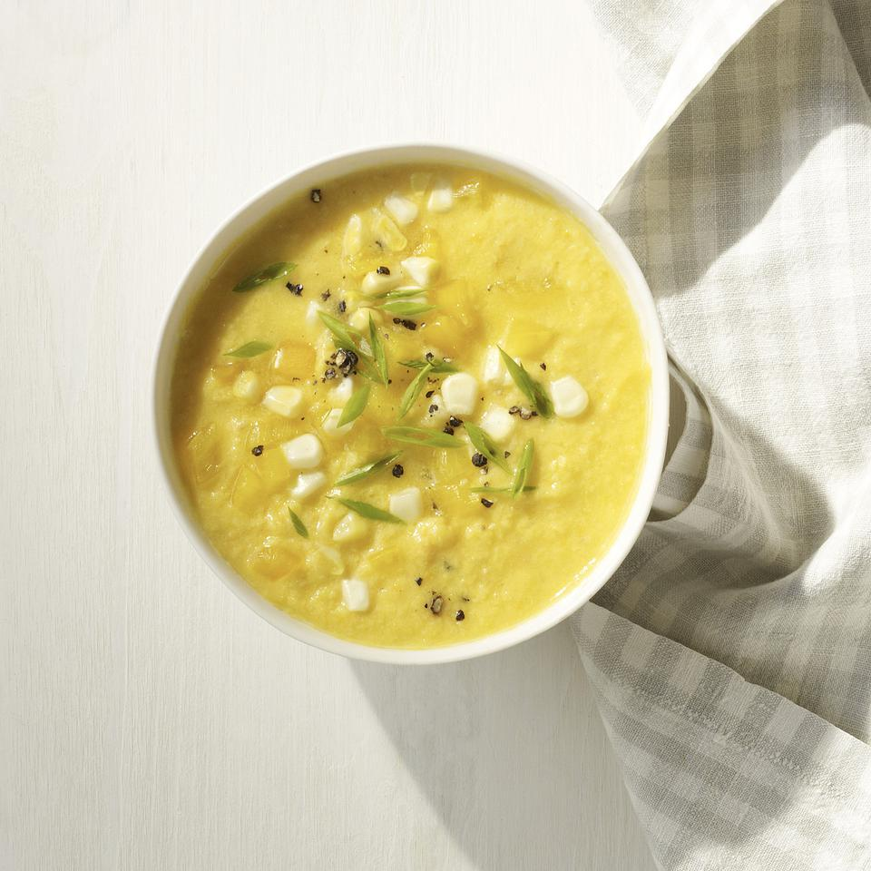 The yellow vegetables of summer--fresh corn, yellow tomatoes and yellow peppers--make this slightly sweet gazpacho soup recipe a beautiful and delicious alternative to red gazpacho. Source: EatingWell Magazine, July/August 2013