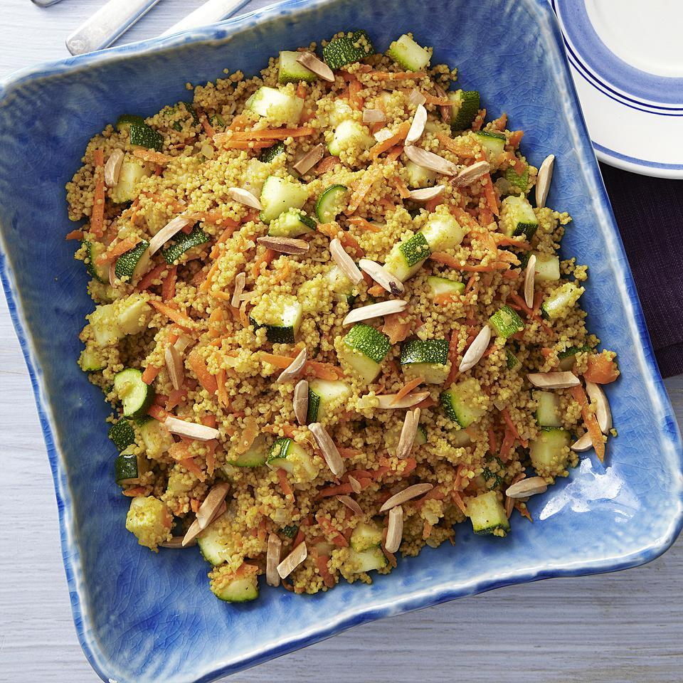 Made all in one saucepan, this curried zucchini and couscous recipe is a quick side dish, perfect to serve with grilled meats. For a little sweetness, throw in a handful of raisins with the carrots. Source: EatingWell Magazine, July/August 2013