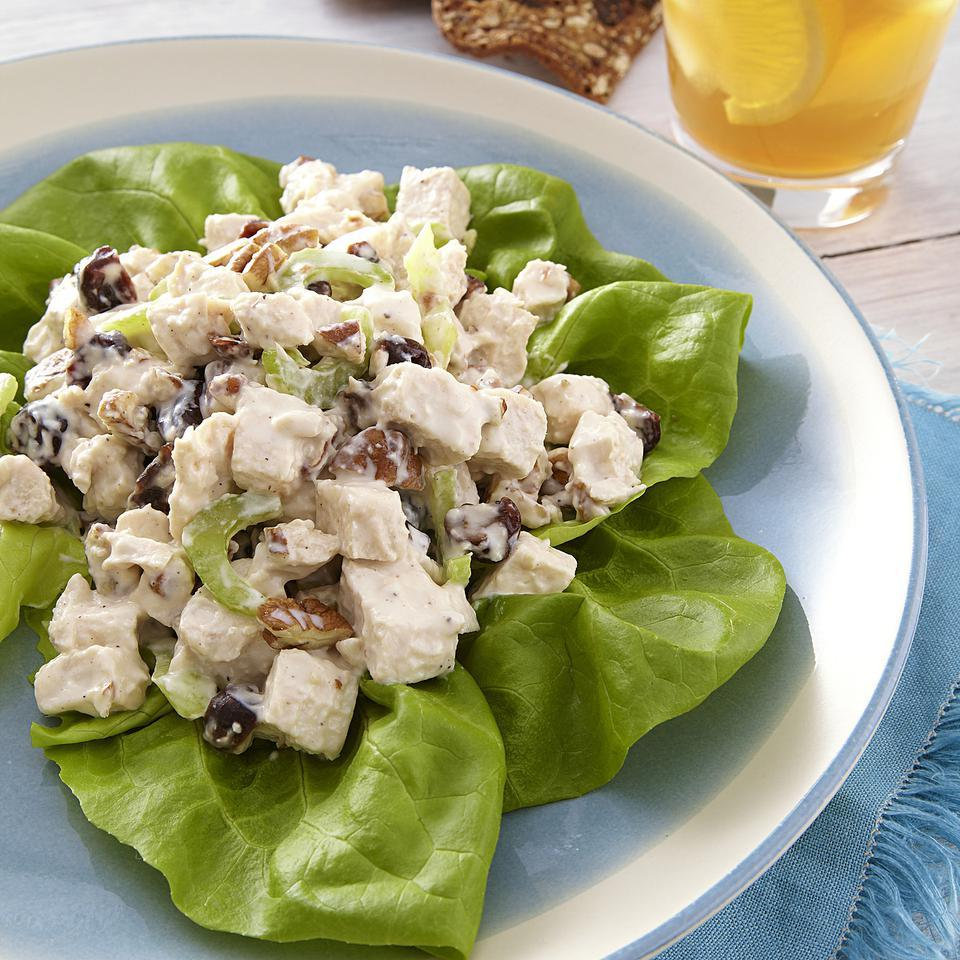 This healthy chicken salad recipe is sweet and crunchy thanks to the addition of heart-healthy pecans and fiber-rich dried cherries. If you have cooked chicken breast on hand, skip Step 1 and use about 3 cups chopped chicken in Step 3. Source: EatingWell Magazine, July/August 2013