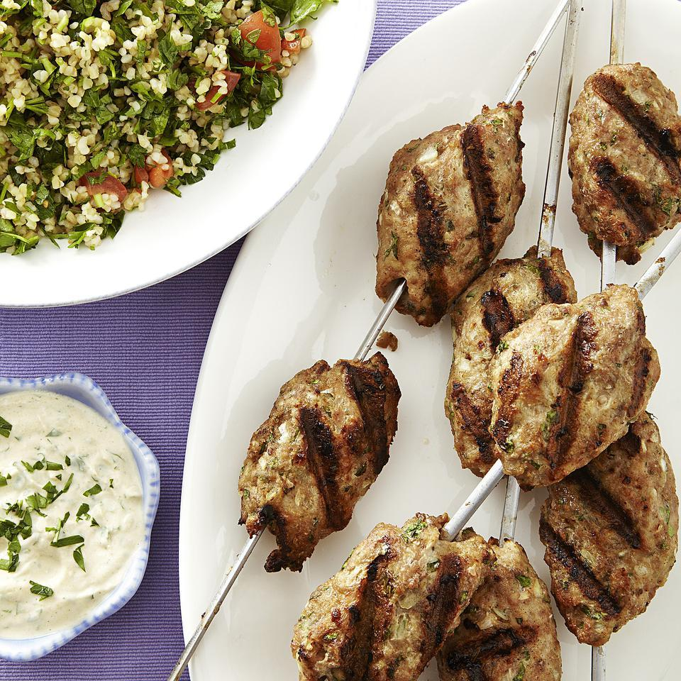 Kofta is the common term for the combination of ground meat, onions and spices shaped into balls and cooked. In this turkey kofta kebab recipe, ground turkey and minced onion are mixed with cumin and allspice to make a delicious grilled dinner. Look for tahini, a sesame paste, with Middle Eastern ingredients or in the natural-foods section of the supermarket.