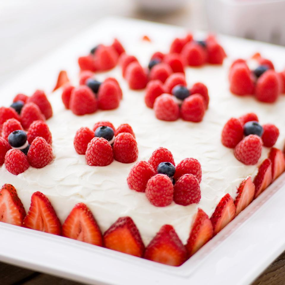 Yellow Sheet Cake with Cream Cheese Frosting & Berries Katie Webster