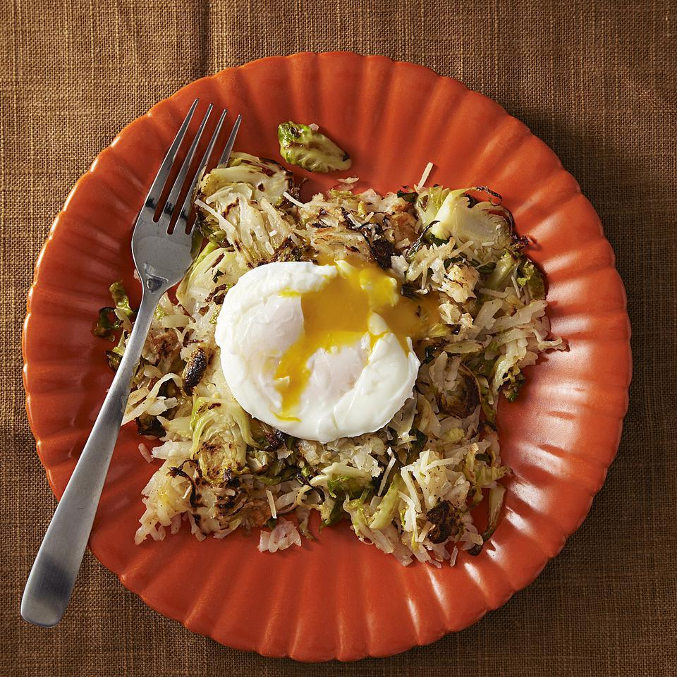 This vegetarian Brussels sprout and potato hash recipe is a quick, easy dinner, perfect for a cool fall evening. Resist the urge to stir it too much! Cooking the hash undisturbed allows a crispy caramelized crust to form on the potatoes at the bottom of the pan. Look for hash browns that don't have added salt to help keep sodium in check. Source: EatingWell Magazine, September/October 2013