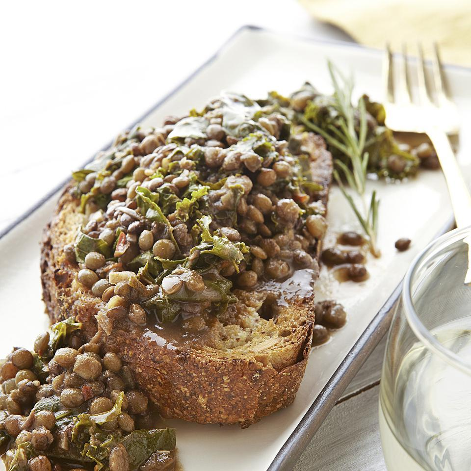 Rosemary Lentils & Greens on Toasted Bread Emily Horton