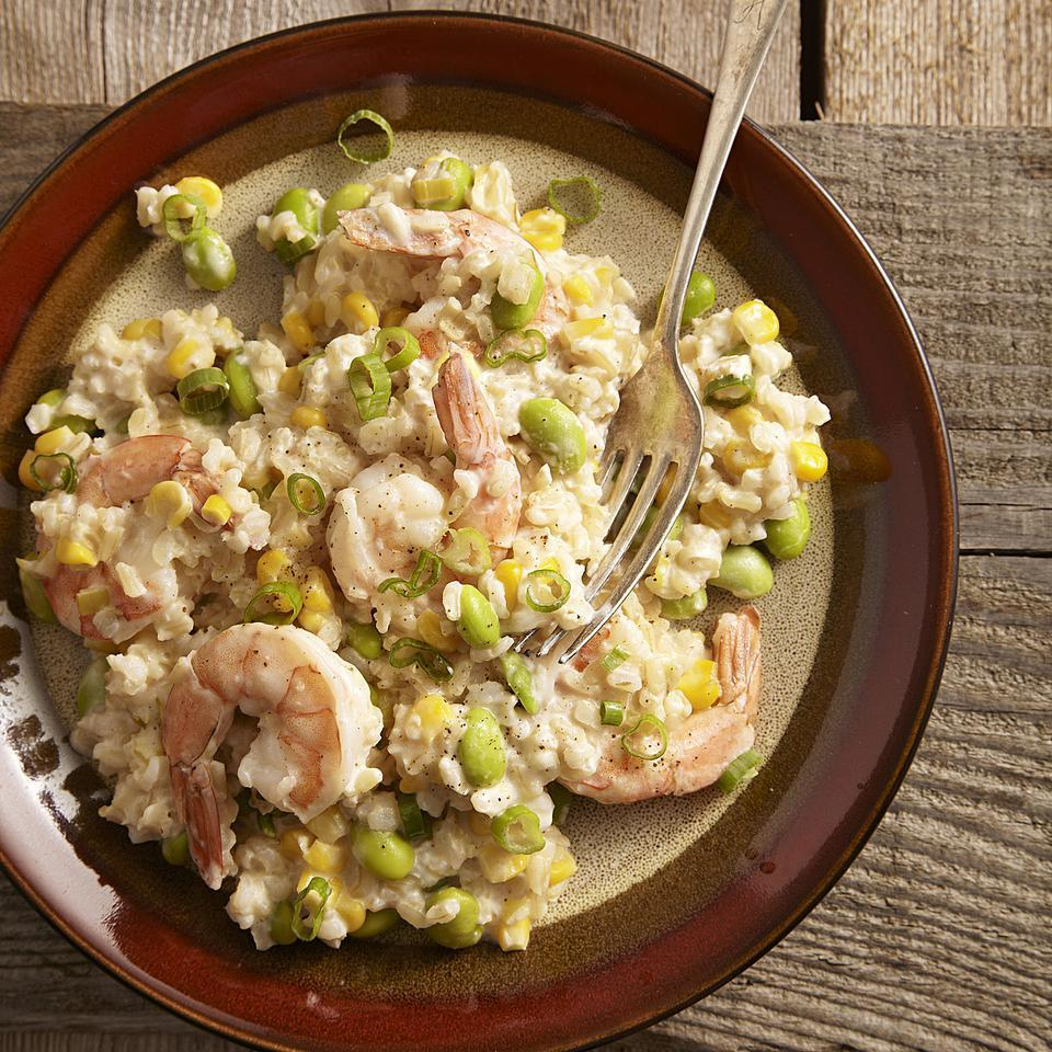 Quick Risotto with Shrimp, Corn & Edamame EatingWell Test Kitchen