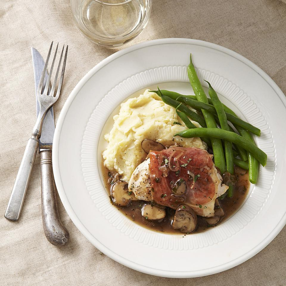 Prosciutto-Wrapped Chicken with Mushroom Marsala Sauce for Two EatingWell Test Kitchen