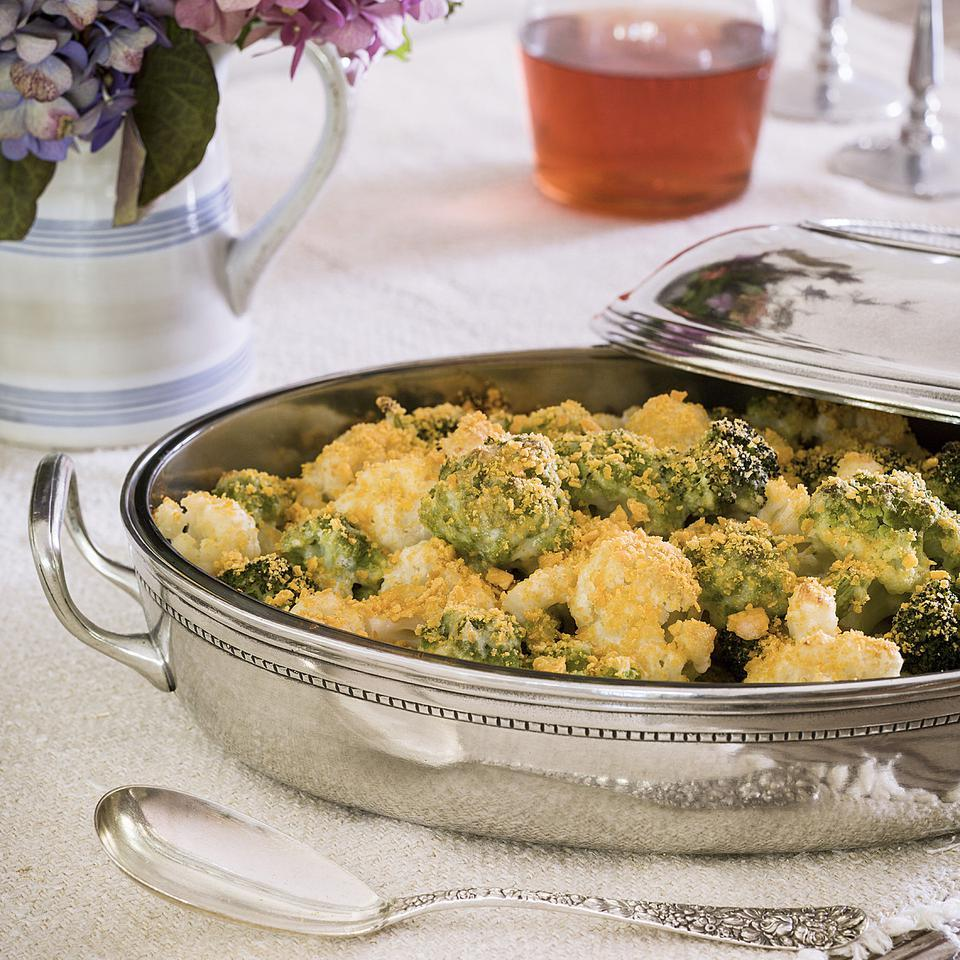 This cauliflower-and-broccoli gratin is healthier than traditional gratins thanks to a sauce made with low-fat milk and just enough full-flavored cheese to keep it rich without extra saturated fat and calories. For a healthier cheese-crust topping, opt for cheese crackers made without partially hydrogenated oils. Source: EatingWell Magazine, November/December 2013