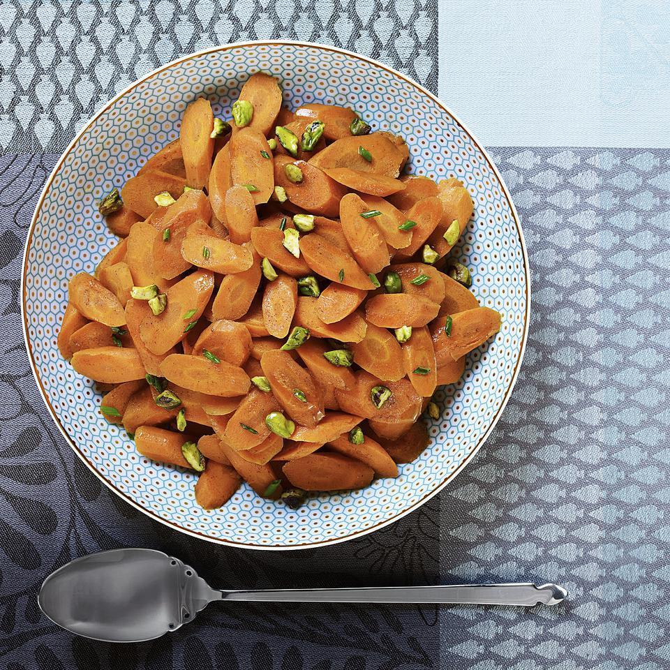Pomegranate Molasses-Glazed Carrots with Pistachios EatingWell Test Kitchen
