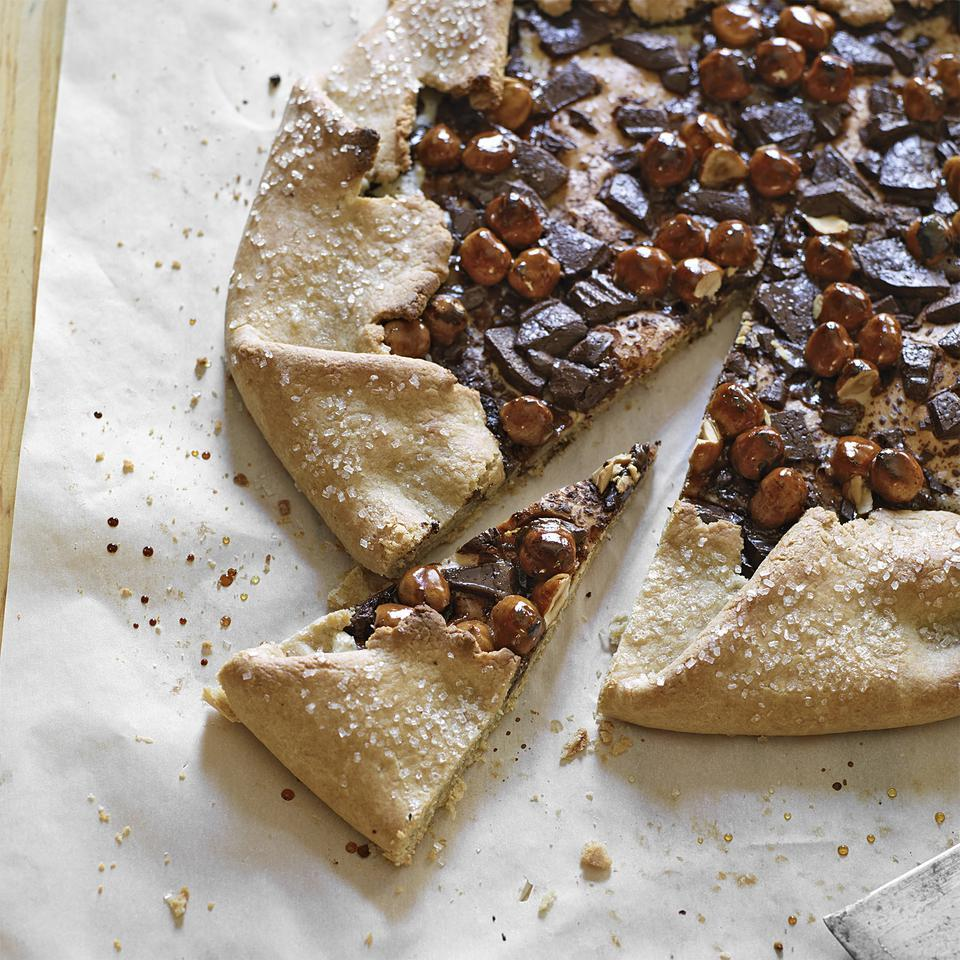 Chocolate-Almond Galette with Caramel Hazelnuts Anna Thomas