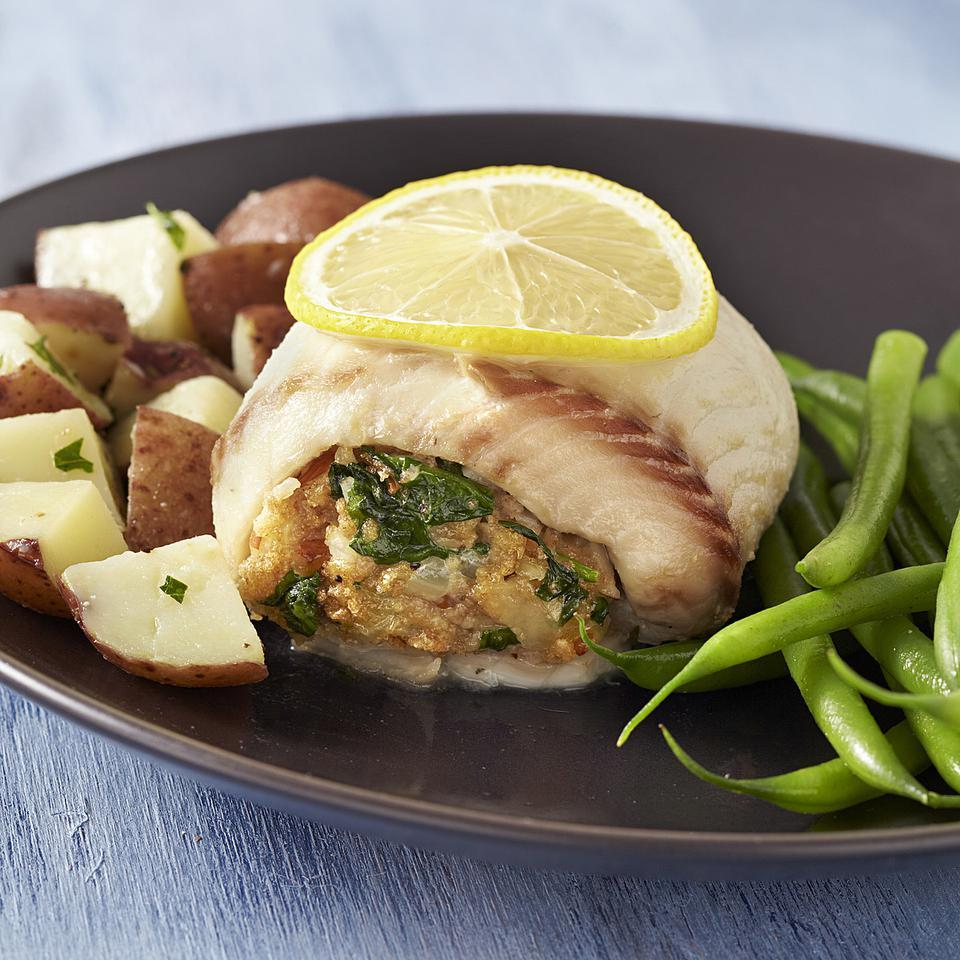 Spinach & Gruyere Stuffed Tilapia EatingWell Test Kitchen
