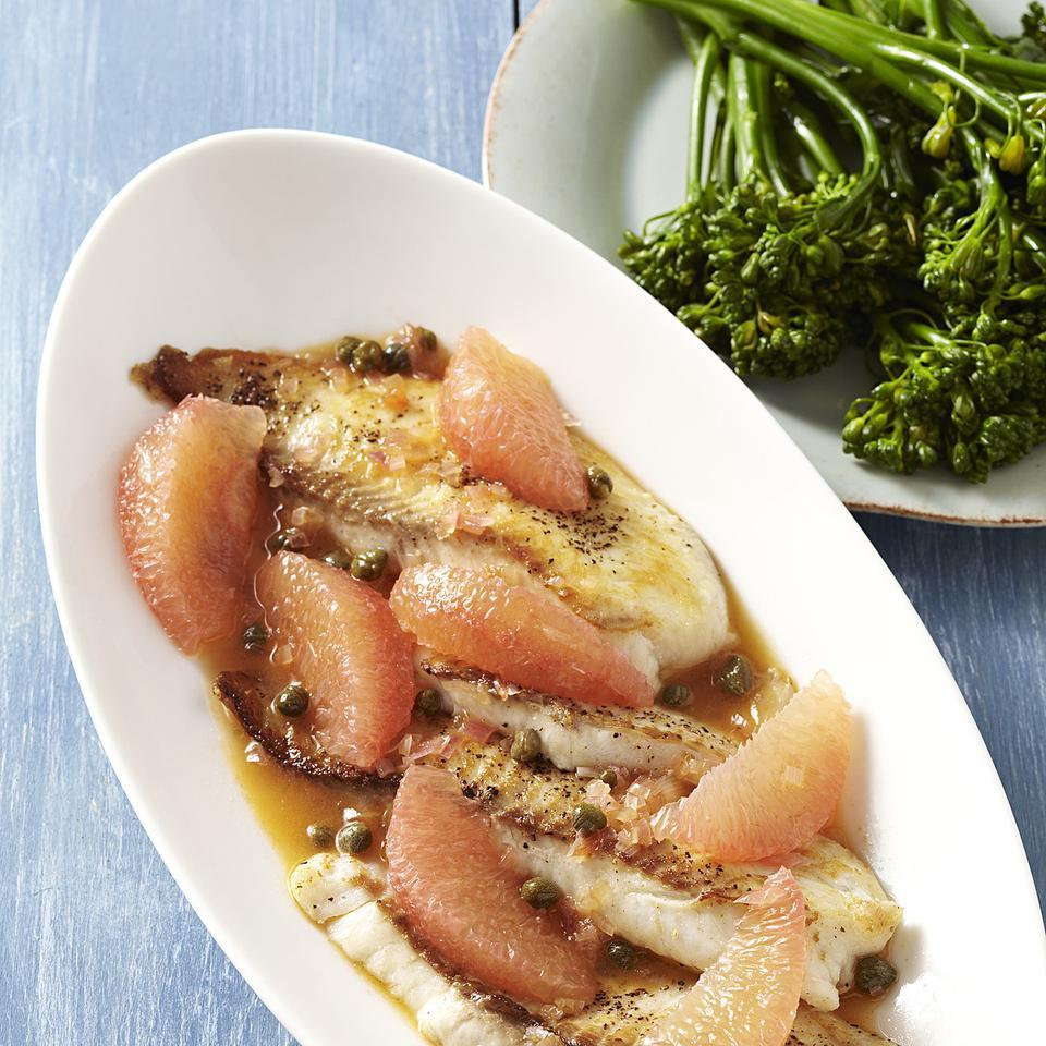 Tilapia with Grapefruit-Caper Sauce EatingWell Test Kitchen