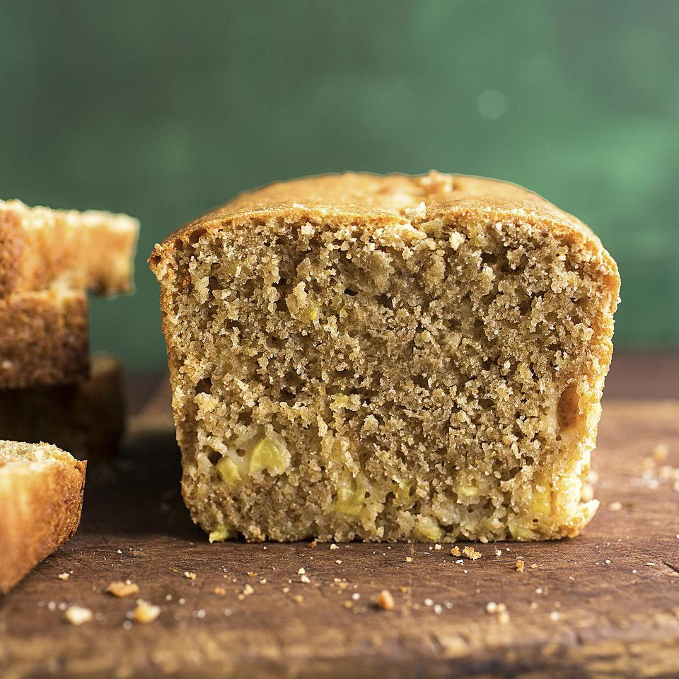 In this moist and delicious healthy pound cake recipe, we use coconut oil in place of butter because an enzyme in fresh pineapple can react with dairy when heated, resulting in an off flavor. Alternatively, you can use melted butter and canned pineapple. To make a large cake, bake in a 9-by-5-inch loaf pan for 35 to 40 minutes.Source: EatingWell Magazine, January/February 2014