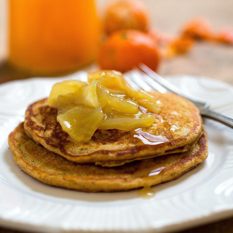 This healthy whole-grain apple-cinnamon pancake recipe uses 100% whole-wheat flour, heart-healthy canola oil and just a tablespoon of added sugar. If you want to experiment with different types of whole grains, replace up to 1/2 cup of the flour with cornmeal, oats and/or buckwheat flour. Or add extra fiber and healthy omega-3 fats by adding up to 3 tablespoons of ground flaxseed or chia seeds. Source: EatingWell Magazine, January/February 2014