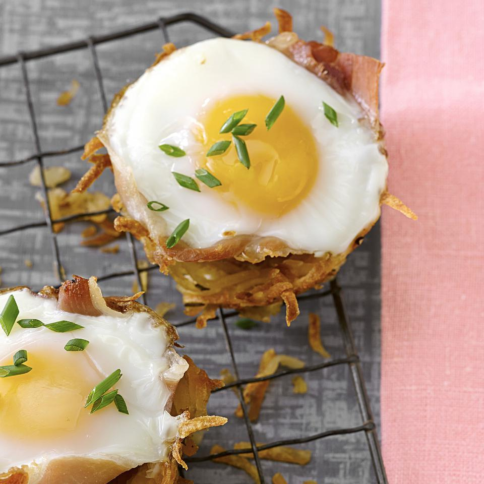 Baked Eggs in Prosciutto-Hash Brown Cups Hilary Meyer