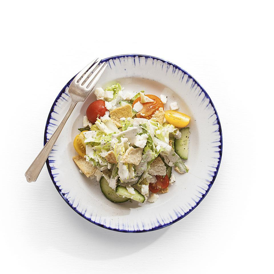 Fattoush with Yogurt-Tahini Dressing EatingWell Test Kitchen