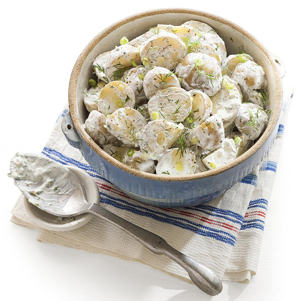 In this healthy potato salad recipe, yogurt replaces mayonnaise to create a creamy dressing spiked with scallions and dill. Source: EatingWell Magazine, March/April 2014