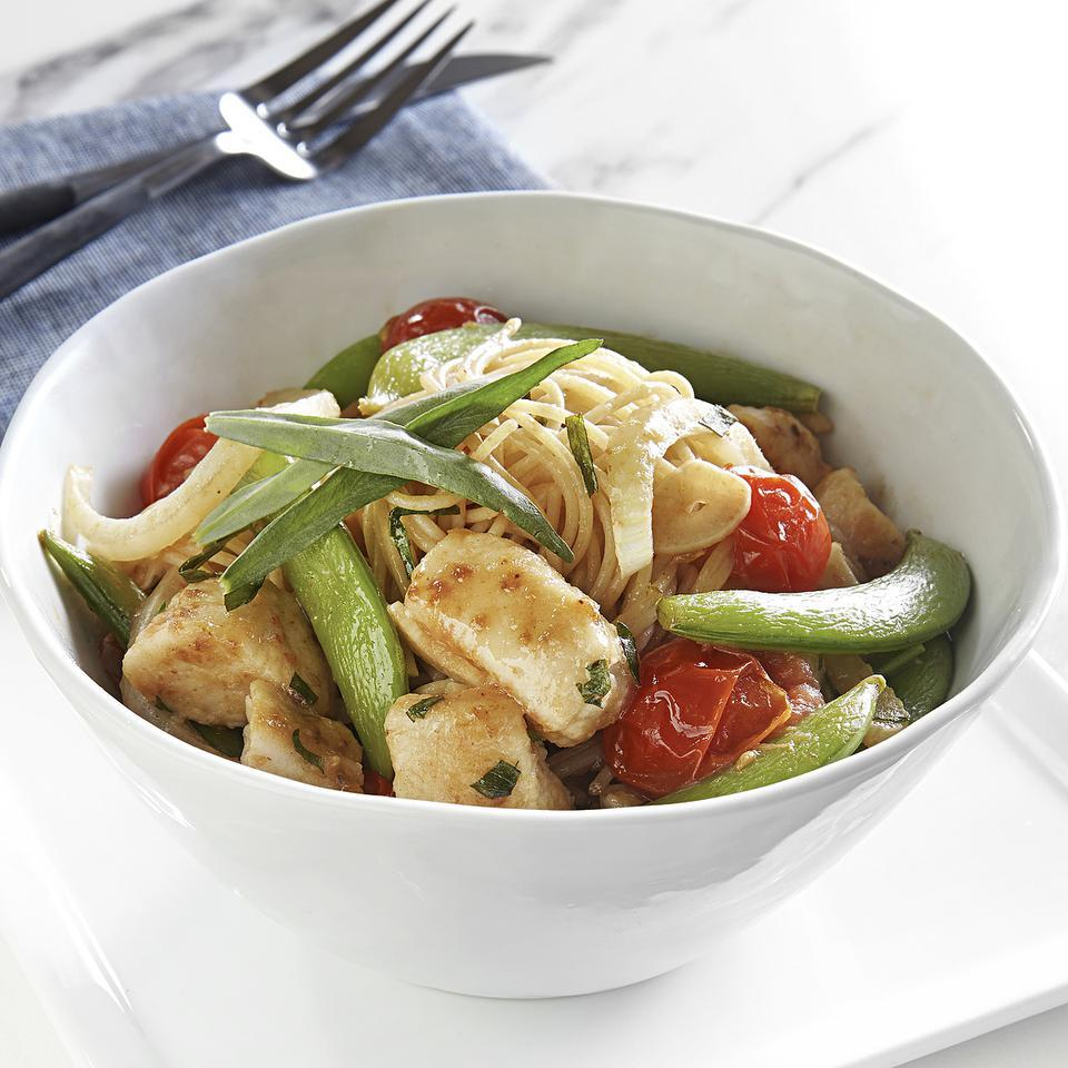 Chicken & Snap Pea Stir-Fry over Angel Hair Pasta EatingWell Test Kitchen