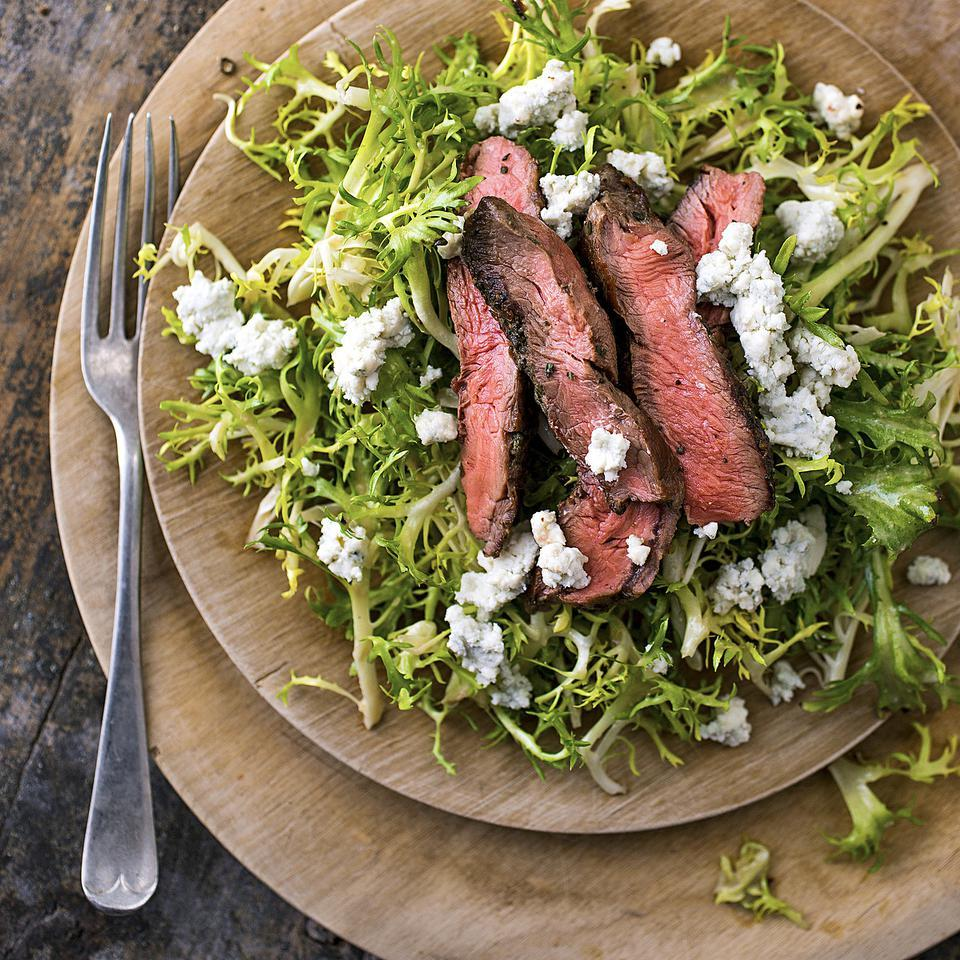 This steak salad recipe is tasty and easy to make. Flat-iron steak is quite tender; cook this lean cut of steak to medium-rare for the best flavor.Source: EatingWell Magazine, March/April 2014
