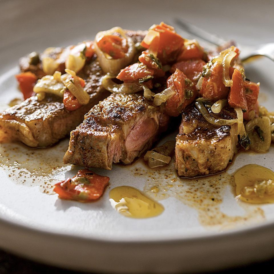 Rib-Eye Steaks with Piquillo Pepper Sauce Bruce Aidells