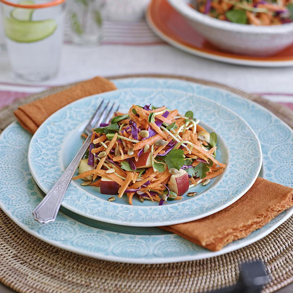 Orange blossom water adds an exotic citrus essence to the dressing in this spiced carrot and cabbage salad recipe. If you prefer, you can substitute orange juice, which will give you a similar flavor without the delicate perfumed notes. Look for orange blossom water in natural-foods stores and Middle Eastern grocers. Source: EatingWell Magazine, May/June 2014