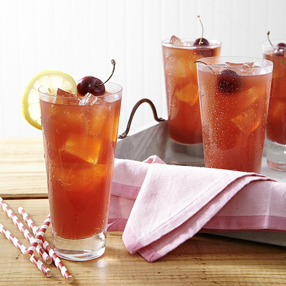 This thirst-quenching pink lemonade recipe uses fresh cherries for the pretty pink hue and light flavor. If you like, add a splash of vodka, bourbon or rum to transform this healthy lemonade recipe into a refreshing summer cocktail. Source: EatingWell Magazine, May/June 2014