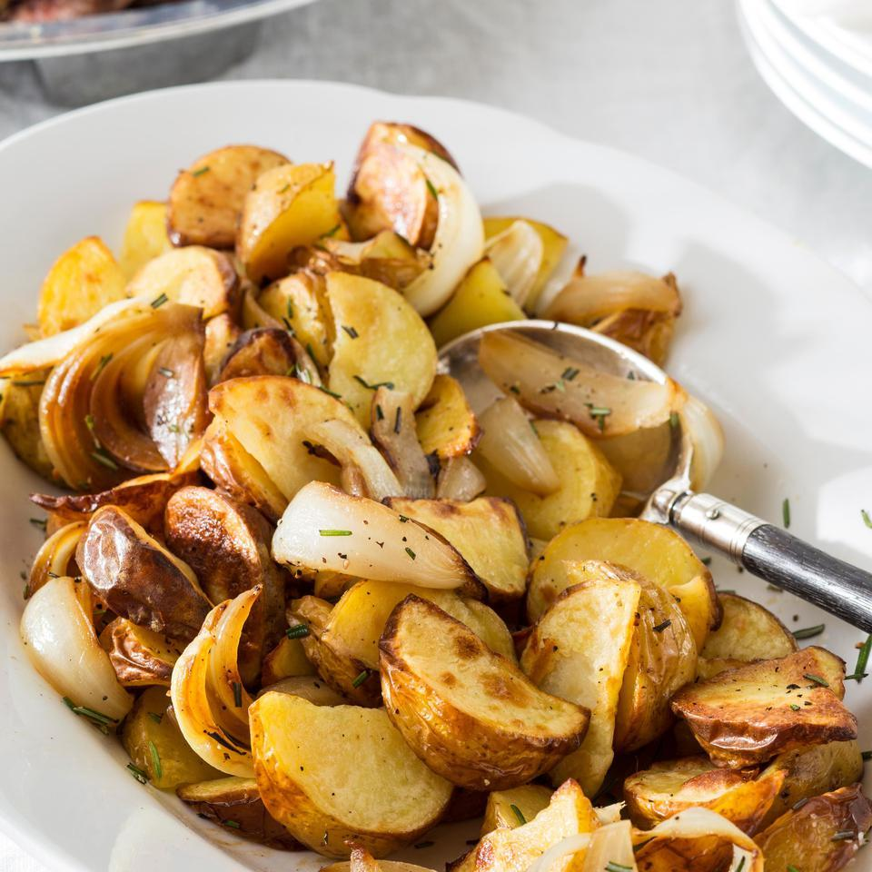 In this healthy roasted potato recipe, the potato wedges are first parboiled until just tender to release their starches before baking. For the crispiest potatoes, oil the baking sheet and preheat it in the oven so when you add the potatoes they'll immediately start to sizzle.