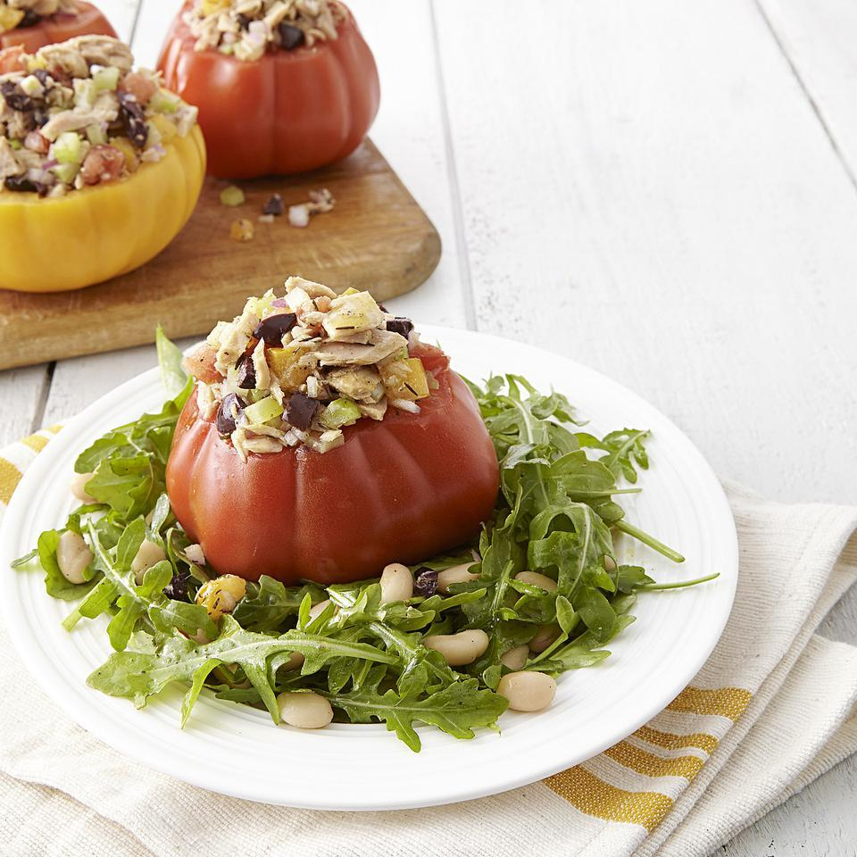 Tuna Salad-Stuffed Tomatoes with Arugula EatingWell Test Kitchen