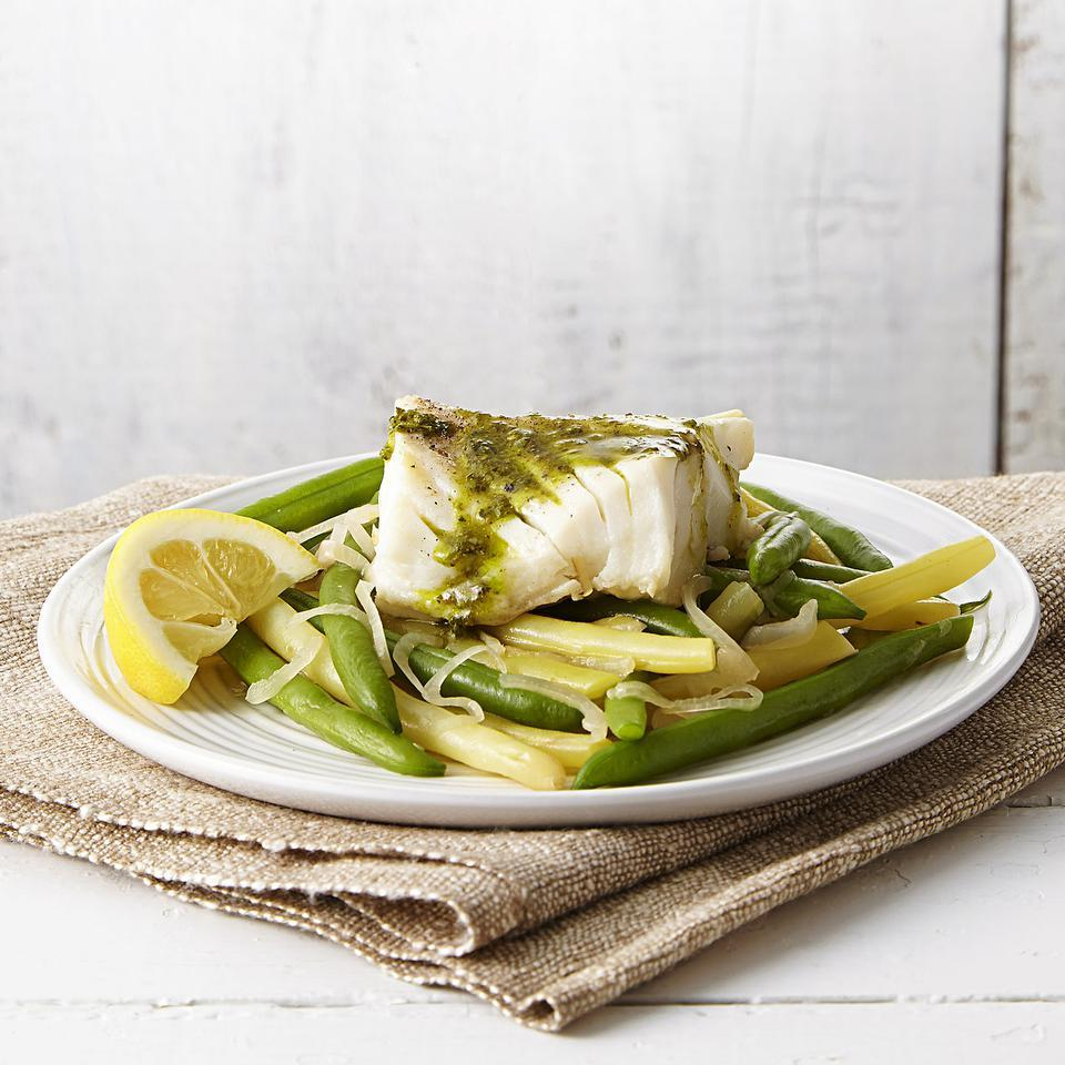 Poached Cod & Green Beans with Pesto EatingWell Test Kitchen