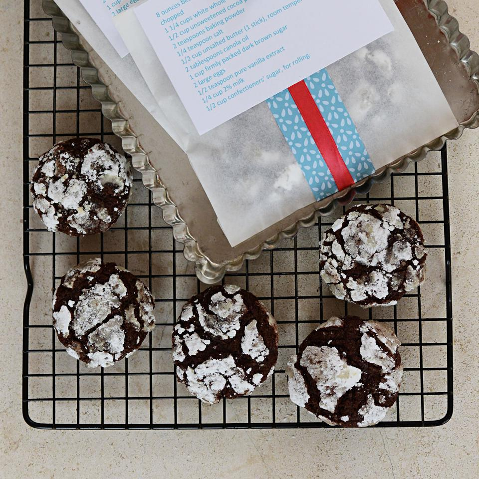 This fudgy chocolate crinkle cookie recipe is a hit with chocolate lovers. Bake the cookies right after rolling them in confectioners' sugar: if they sit, the sugar absorbs into the dough and the rich chocolaty cookies lose their snowcapped look. Source: EatingWell Magazine, November/December 2014