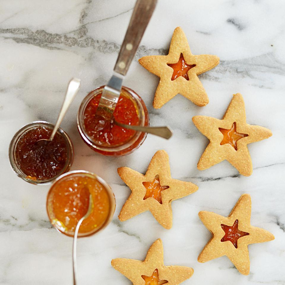 In this almond cookie recipe, star-shaped cutters give these classic jam-filled sandwich Linzer cookies holiday sparkle, but you can also use a more traditional round or scalloped cookie cutter. Almond flour adds crunchy texture and nutty flavor. Look for it near other specialty flours in natural-foods markets. Source: EatingWell Magazine, November/December 2014