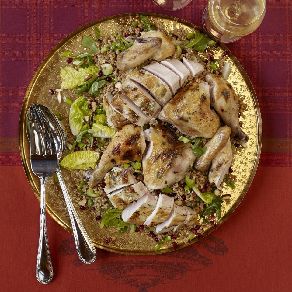 Roast Chicken & Pomegranate Farro Salad Tara Mataraza Desmond