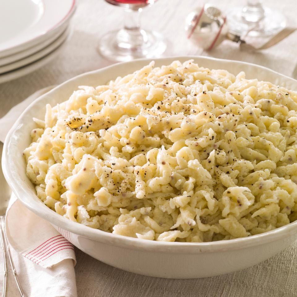 In this German-inspired spaetzle recipe, whole-grain mustard adds zesty flavor to these homemade egg noodles. Serve these little dumplings with roasted chicken, meatballs or sauerbraten, the classic German pickled roast beef traditionally accompanied by spaetzle. Source: EatingWell Magazine, November/December 2014