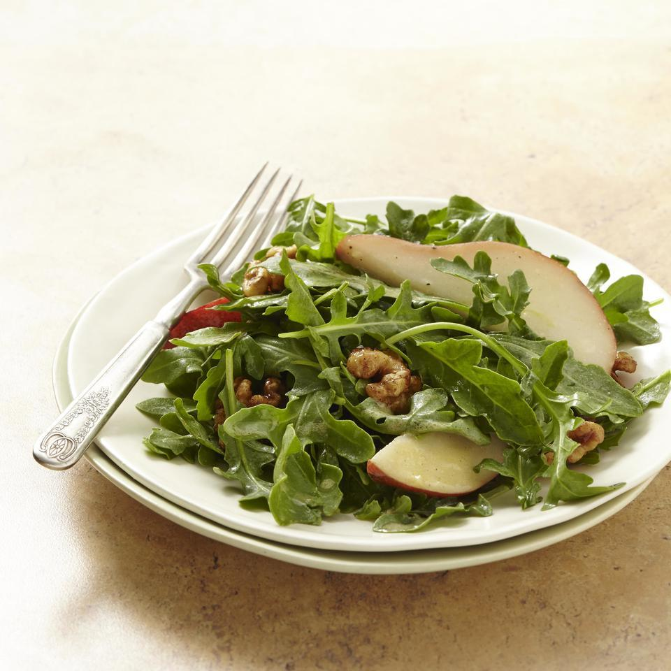 Pear & Arugula Salad with Candied Walnuts EatingWell Test Kitchen