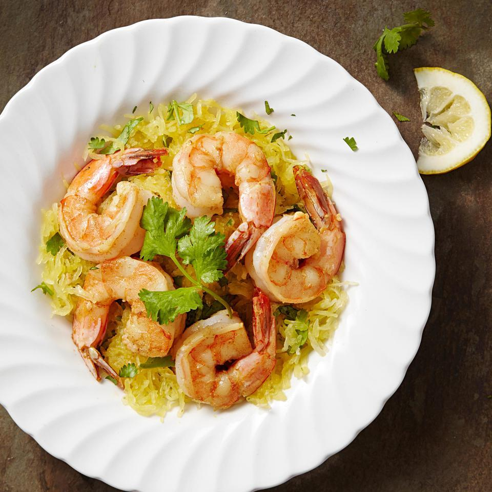 Garlic Shrimp with Cilantro Spaghetti Squash EatingWell Test Kitchen