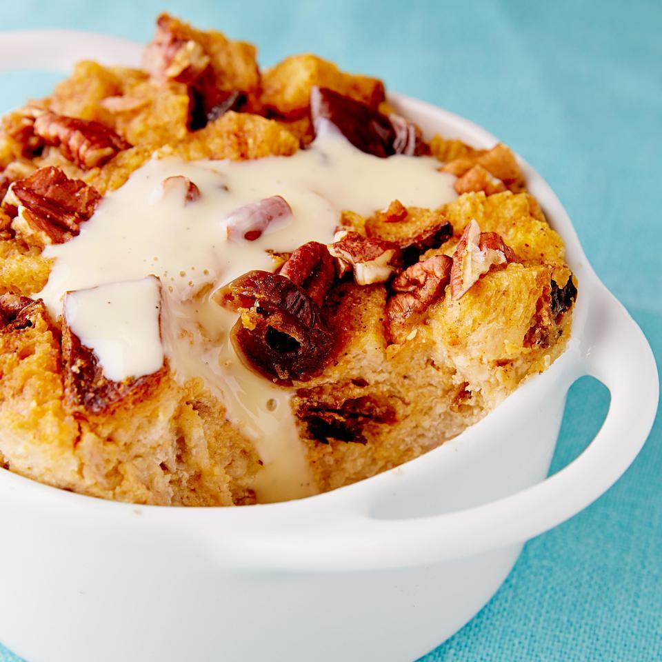 In this healthy pumpkin bread pudding recipe, whole-wheat bread, Vitamin A-rich pumpkin and toasted pecans come together for a praiseworthy dessert. To make individual bread puddings instead of one large pan, divide the batter among 12 small oiled individual baking dishes (about 8 ounces each). Cover with foil. Bake for 30 minutes, uncover, sprinkle with pecans and bake for 20 to 25 minutes more. Source: EatingWell Magazine, November/December 2014